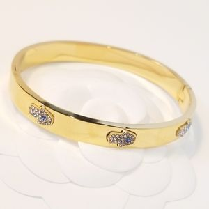 18K Gold Plated Stainless Hamsa Pave CZ Bracelet